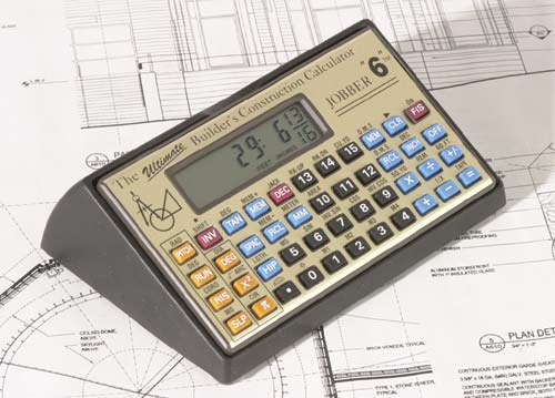 Jobber 6 construction calculator in a desktop holder